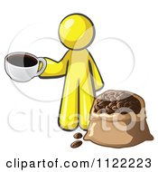 Cartoon Of A Yellow Man With A Cup Of Coffee Over A Bag Of Beans Royalty Free Vector Clipart by Leo Blanchette