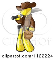 Cartoon Of A Yellow Explorer Man Carrying A Machete Royalty Free Vector Clipart by Leo Blanchette