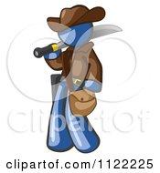 Blue Explorer Man Carrying A Machete