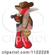 Red Explorer Man Carrying A Machete