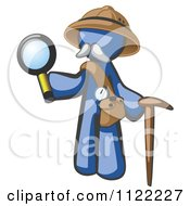 Cartoon Of A Blue Man Explorer With A Pack Cane And Magnifying Glass Royalty Free Vector Clipart by Leo Blanchette