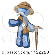 Cartoon Of A Blue Man Explorer With A Pack And Cane Royalty Free Vector Clipart