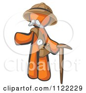 Cartoon Of An Orange Man Explorer With A Pack And Cane Royalty Free Vector Clipart