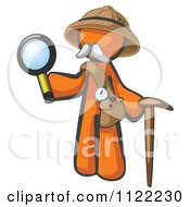 Cartoon Of An Orange Man Explorer With A Pack Cane And Magnifying Glass Royalty Free Vector Clipart
