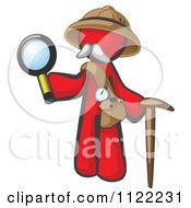 Cartoon Of A Red Man Explorer With A Pack Cane And Magnifying Glass Royalty Free Vector Clipart by Leo Blanchette