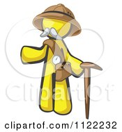 Cartoon Of A Yellow Man Explorer With A Pack And Cane Royalty Free Vector Clipart by Leo Blanchette