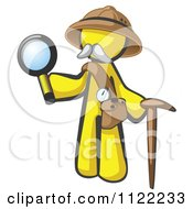 Cartoon Of A Yellow Man Explorer With A Pack Cane And Magnifying Glass Royalty Free Vector Clipart by Leo Blanchette