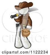 Cartoon Of A White Explorer Man Carrying A Machete Royalty Free Vector Clipart by Leo Blanchette