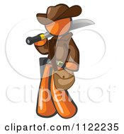 Cartoon Of An Orange Explorer Man Carrying A Machete Royalty Free Vector Clipart