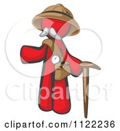 Cartoon Of A Red Man Explorer With A Pack And Cane Royalty Free Vector Clipart by Leo Blanchette