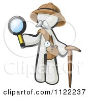 Cartoon Of A White Man Explorer With A Pack Cane And Magnifying Glass Royalty Free Vector Clipart by Leo Blanchette