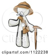 Cartoon Of A White Man Explorer With A Pack And Cane Royalty Free Vector Clipart by Leo Blanchette