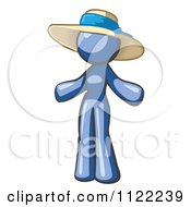 Cartoon Of A Blue Woman Wearing A Sun Hat Royalty Free Vector Clipart by Leo Blanchette