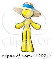 Cartoon Of A Yellow Woman Wearing A Sun Hat Royalty Free Vector Clipart by Leo Blanchette