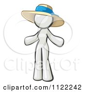 Cartoon Of A White Woman Wearing A Sun Hat Royalty Free Vector Clipart by Leo Blanchette