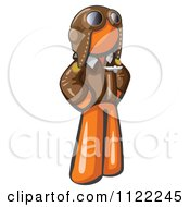 Cartoon Of An Orange Aviator Pilot With A Leather Helmet Royalty Free Vector Clipart by Leo Blanchette