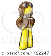 Cartoon Of A Yellow Aviator Pilot With A Leather Helmet Royalty Free Vector Clipart by Leo Blanchette