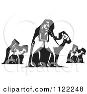 Clipart Of A Black And White Woodcut Of The Wise Men On Camels Royalty Free Vector Illustration