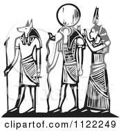 Clipart Of Black And White Woodcut Anubis Gods Royalty Free Vector Illustration
