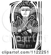 Black And White Woodcut Egyptian Coffinette Of King Tutankhamen