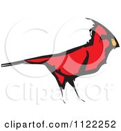 Clipart Of A Woodcut Red Cardinal Bird Royalty Free Vector Illustration