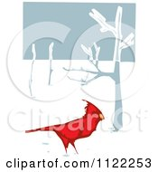 Clipart Of A Woodcut Red Cardinal Bird In The Snow Royalty Free Vector Illustration by xunantunich
