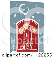 Clipart Of Woodcut Bell Ringers Pulling On Ropes Royalty Free Vector Illustration