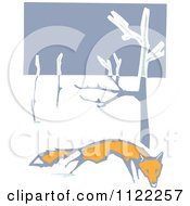 Clipart Of A Woodcut Fox In The Snow Royalty Free Vector Illustration by xunantunich