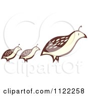 Clipart Of A Woodcut Partridge Pheasant Bird And Chicks Royalty Free Vector Illustration