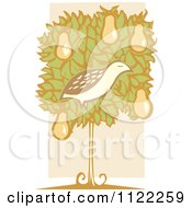 Clipart Of A Woodcut Partridge Bird In A Pear Tree Over Beige Royalty Free Vector Illustration by xunantunich