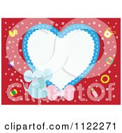 Clipart Of A Heart Frame With A Cute Baby Boy Elephant On Red Royalty Free Vector Illustration by Cherie Reve