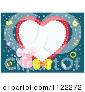 Heart Frame With A Cute Baby Girl Elephant On Blue
