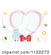Clipart Of A Heart Frame With A Cute Baby Owl Royalty Free Vector Illustration by Cherie Reve
