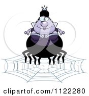 Cartoon Of A Chubby Spider Queen On A Web Royalty Free Vector Clipart
