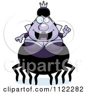 Cartoon Of A Chubby Spider Queen With An Idea Royalty Free Vector Clipart by Cory Thoman