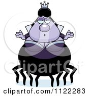Cartoon Of A Careless Shrugging Chubby Spider Queen Royalty Free Vector Clipart by Cory Thoman