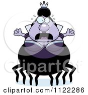 Cartoon Of A Scared Chubby Spider Queen Royalty Free Vector Clipart