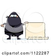 Cartoon Of A Chubby Ninja Man With A Sign 2 Royalty Free Vector Clipart by Cory Thoman