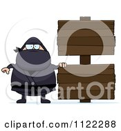 Cartoon Of A Chubby Ninja Man With A Sign 3 Royalty Free Vector Clipart by Cory Thoman