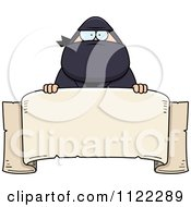 Cartoon Of A Chubby Ninja Man With A Sign 1 Royalty Free Vector Clipart by Cory Thoman