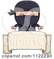 Cartoon Of A Happy Ninja Boy Over A Banner Sign Royalty Free Vector Clipart by Cory Thoman