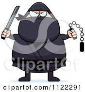 Cartoon Of A Chubby Ninja Man With Weapons Royalty Free Vector Clipart by Cory Thoman