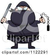 Chubby Ninja Man With Weapons