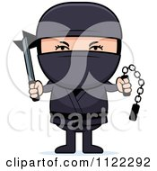 Cartoon Of A Ninja Boy With Weapons Royalty Free Vector Clipart by Cory Thoman