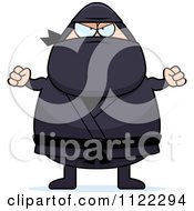 Cartoon Of A Mad Chubby Ninja Man Royalty Free Vector Clipart by Cory Thoman