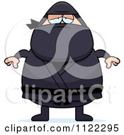 Cartoon Of A Depressed Chubby Ninja Man Royalty Free Vector Clipart by Cory Thoman