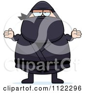 Cartoon Of A Careless Shrugging Chubby Ninja Man Royalty Free Vector Clipart by Cory Thoman