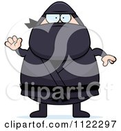 Cartoon Of A Waving Chubby Ninja Man Royalty Free Vector Clipart by Cory Thoman