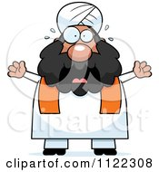 Cartoon Of A Scared Chubby Muslim Sikh Man Royalty Free Vector Clipart