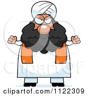 Cartoon Of A Mad Chubby Muslim Sikh Man Royalty Free Vector Clipart